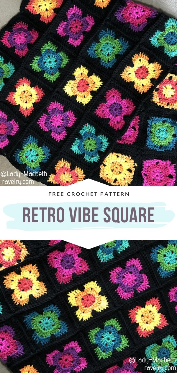 Retro Vibe Square Crochet Blanket