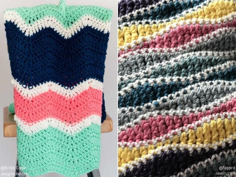 Stylish Crochet Waves Blankets Free Patterns
