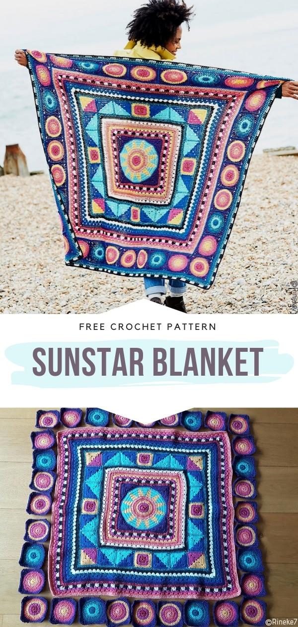 Sunstar Blanket Free Crochet Pattern