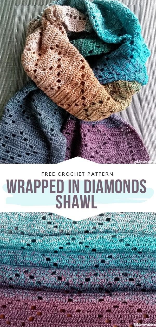 Wrapped in Diamonds Shawl Free Crochet Pattern