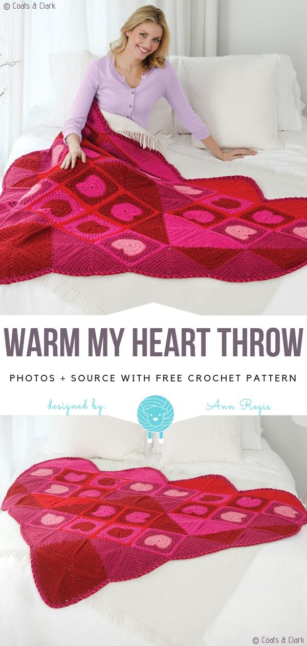 Crochet Heart Throw