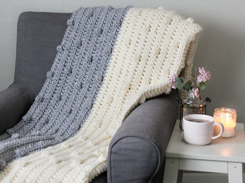 Chunky Bobbles Blankets Free Crochet Patterns