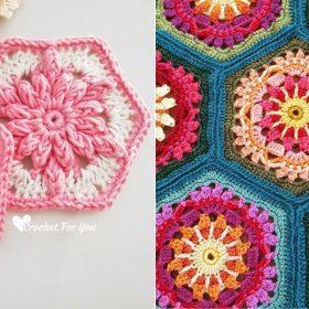 Crochet Flower Hexagons Free Patterns
