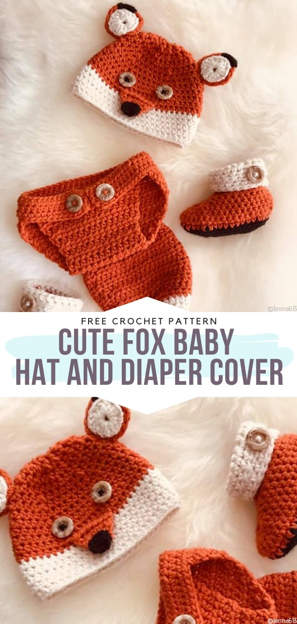 Cute Fox Baby Hat and Diaper Cover Free Crochet Pattern