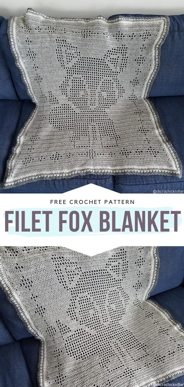 Filet Fox Blanket Free Crochet Pattern