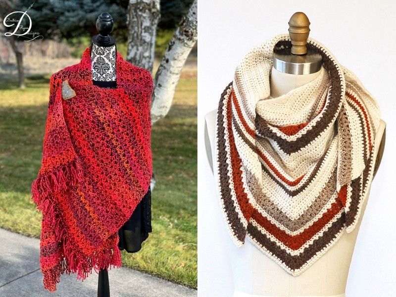 Hot Colors Shawls Free Crochet Patterns