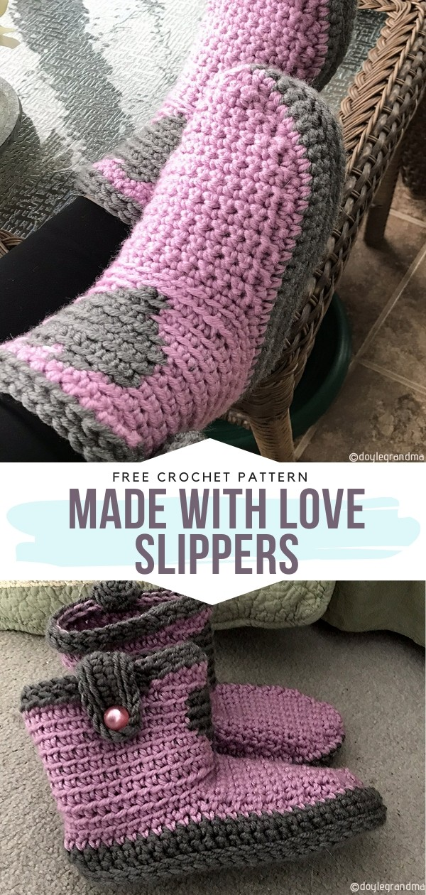 Made With Love Slippers Free Crochet Pattern