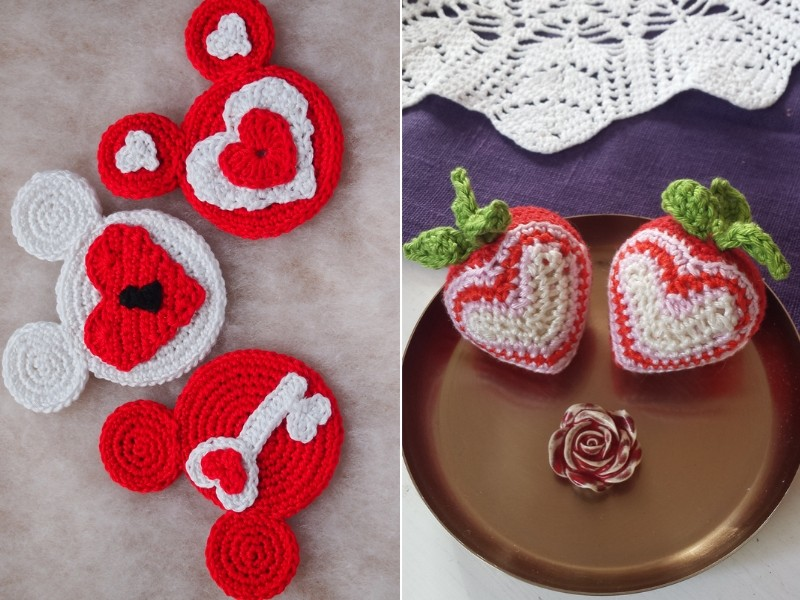 Red Hearts Ornaments Free Crochet Patterns
