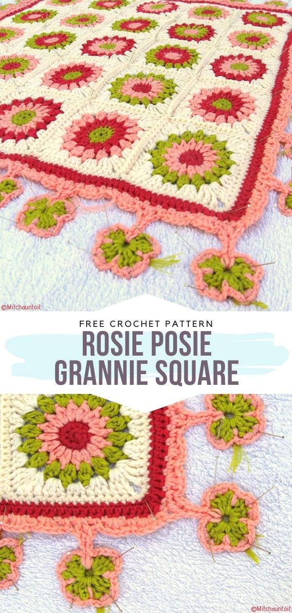 Rosie Posie Grannie Square Free Crochet Pattern