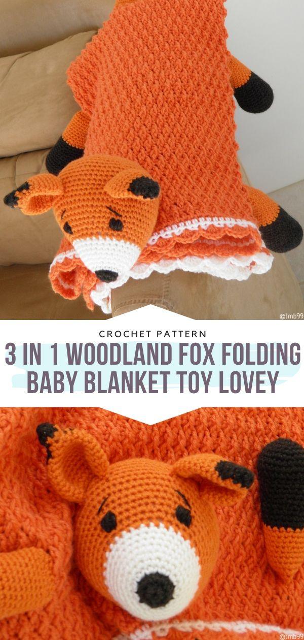 3 in 1 Woodland Fox Folding Baby Blanket Toy Lovey Free Crochet Pattern