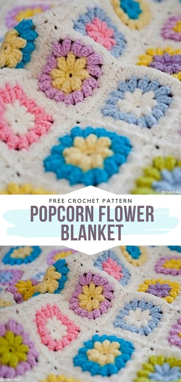 Popcorn Flower Blanket Free Crochet Pattern