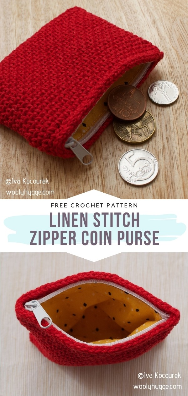 Linen Stitch Zipper Coin Purse