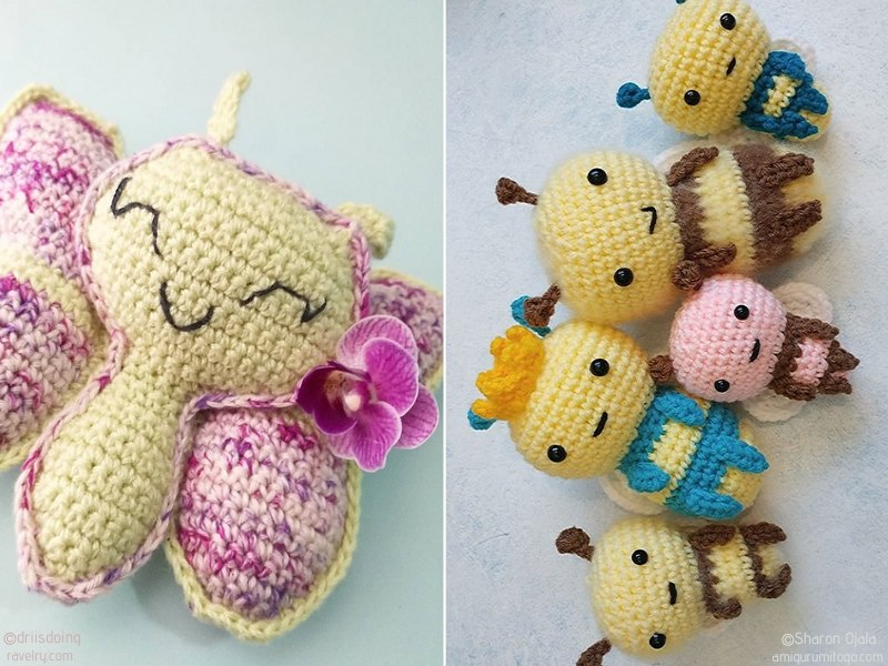 Bees and Butterflies Amigurumi