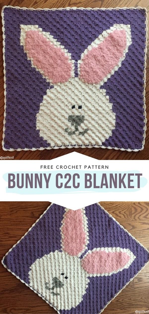 Bunny C2C Blanket Free Crochet Patterns