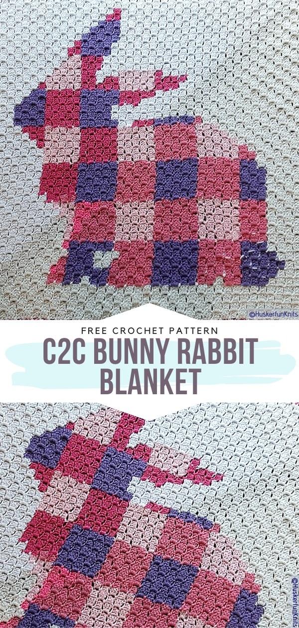 C2C Bunny Rabbit Blanket Free Crochet Pattern