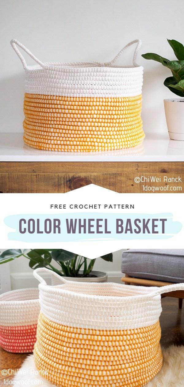 Color Wheel Crochet Basket