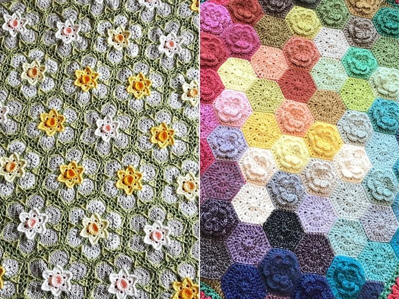 Colorful Petal Blankets Free Crochet Patterns