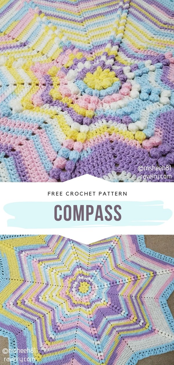 Compass Star Crochet Blanket