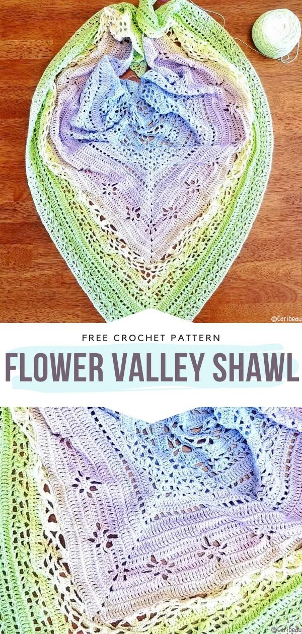 Flower Valley Shawl Free Crochet Pattern