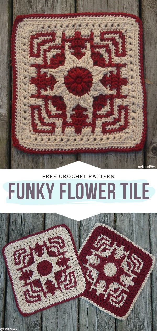 Funky Flower Tile Free Crochet Pattern