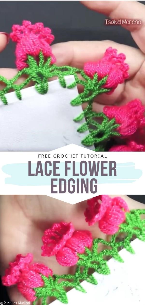 Lace Flower Edging Free Crochet Pattern