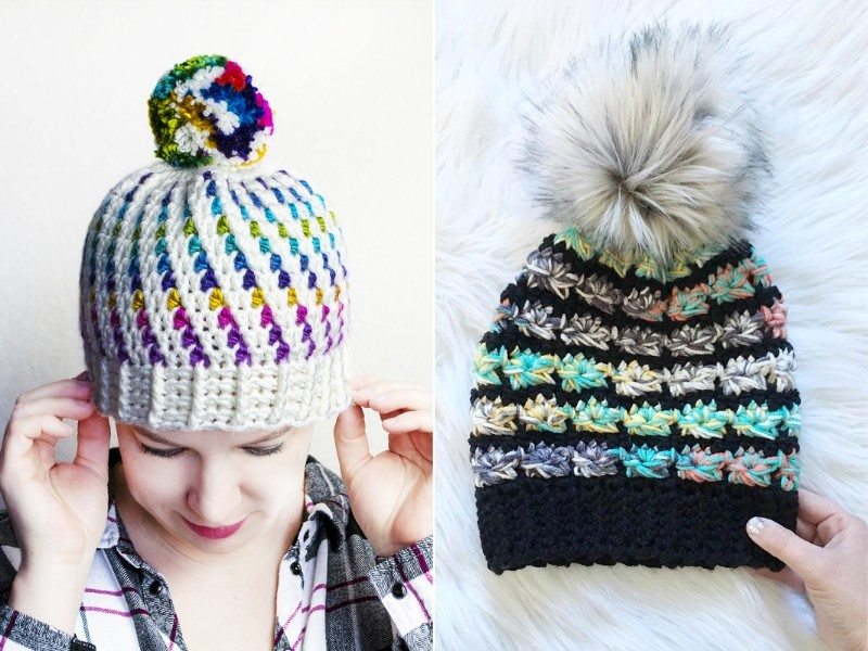 Pop of Color Beanies Free Crochet Patterns