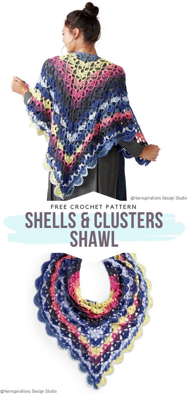 Shells & Clusters Shawl Free Crochet Pattern