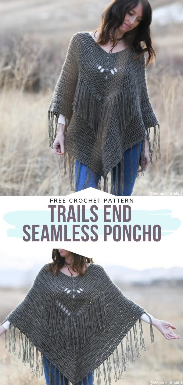 Trails End Seamless Poncho Free Crochet Pattern