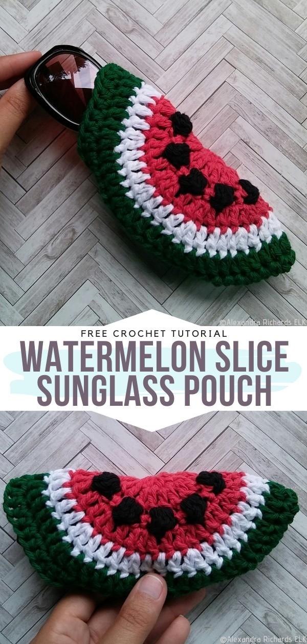 Watermelon Slice Sunglass Pouch Free Crochet Pattern