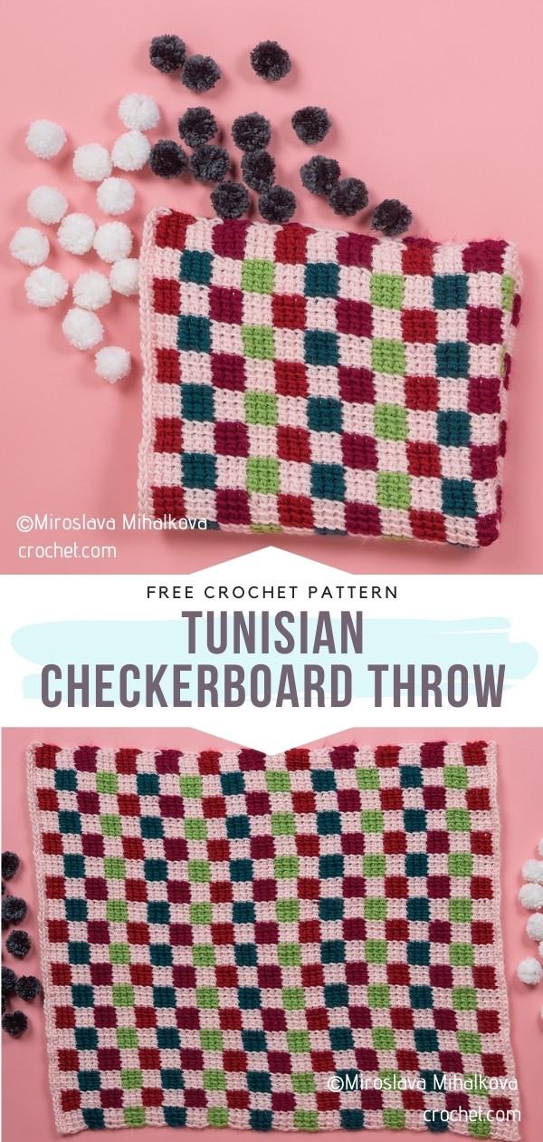 Tunisian Checkerboard Throw