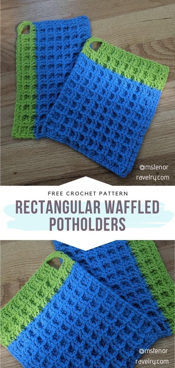 Waffle Stitch Potholders With Free Crochet Patterns