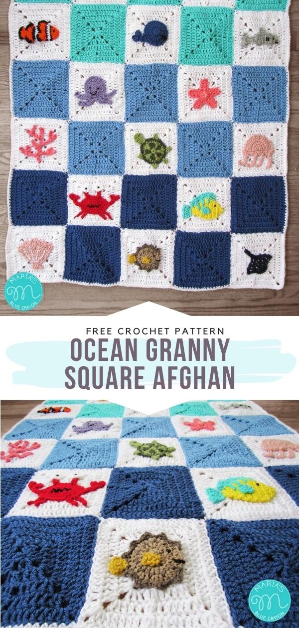 Ocean Granny Square Afghan