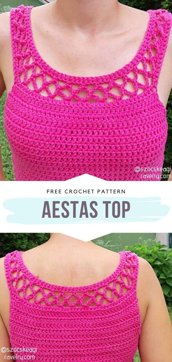 Aestas Crochet Top in Pink