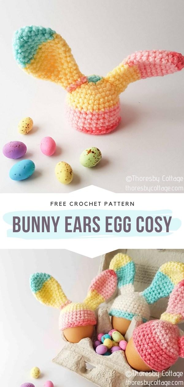 Bunny ears crochet egg cosy