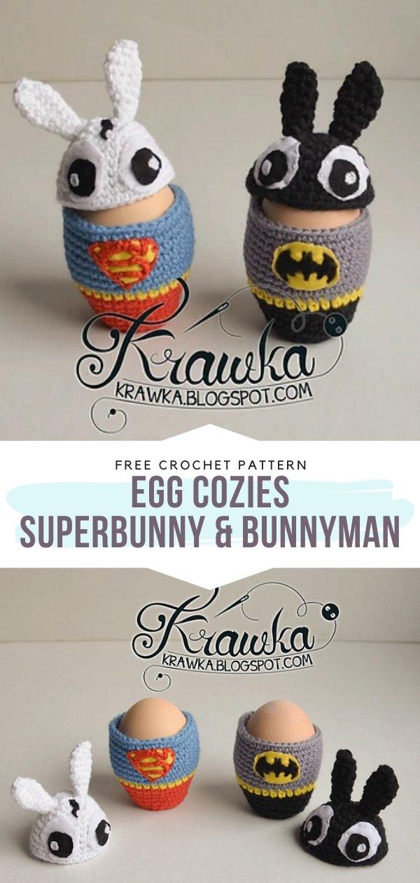 Crochet Egg Cozies Superbunny & Bunnyman
