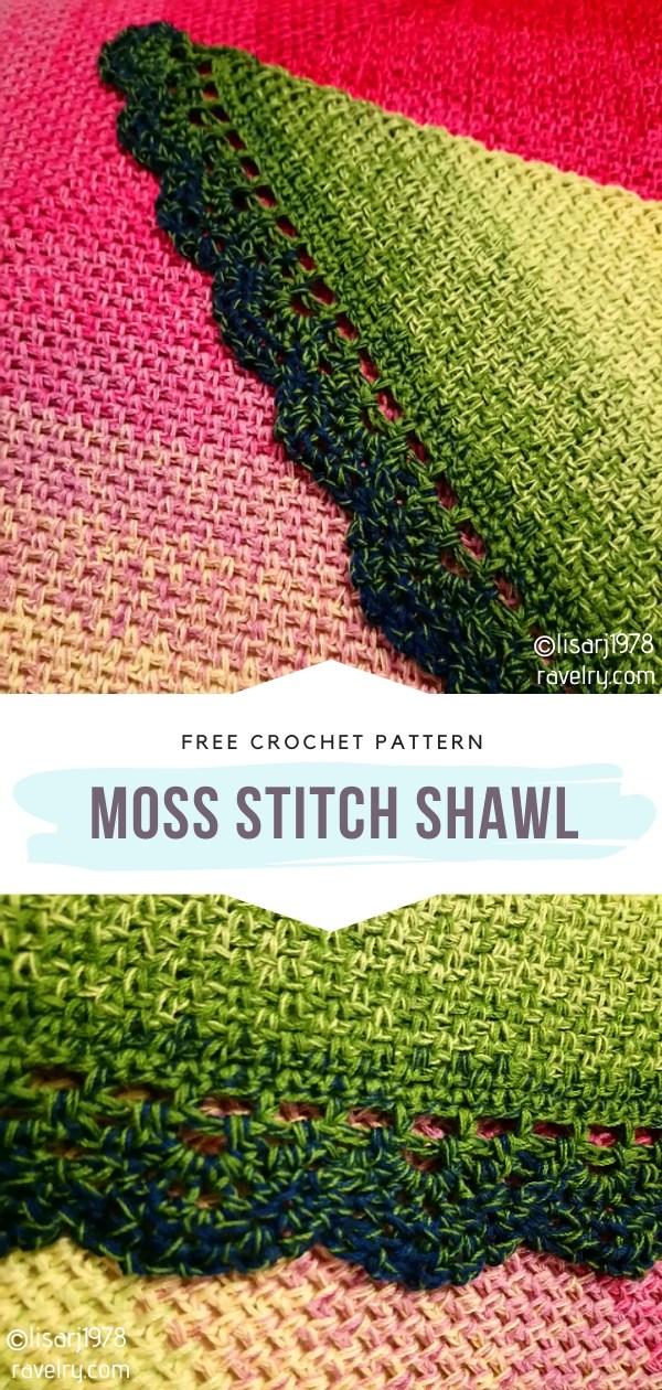 Moss Stitch Crochet Shawl