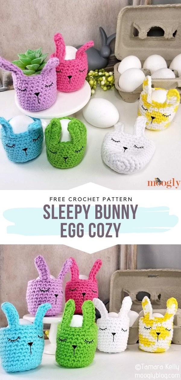 Sleepy Bunny Crochet Egg Cozy