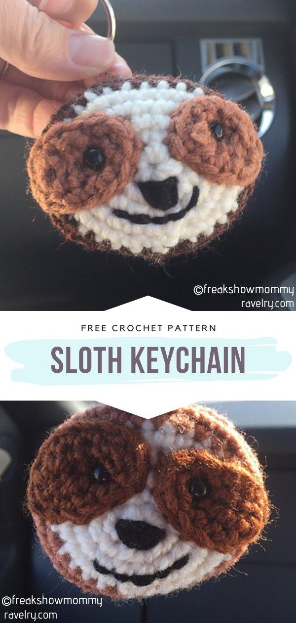 Sloth crochet keychain