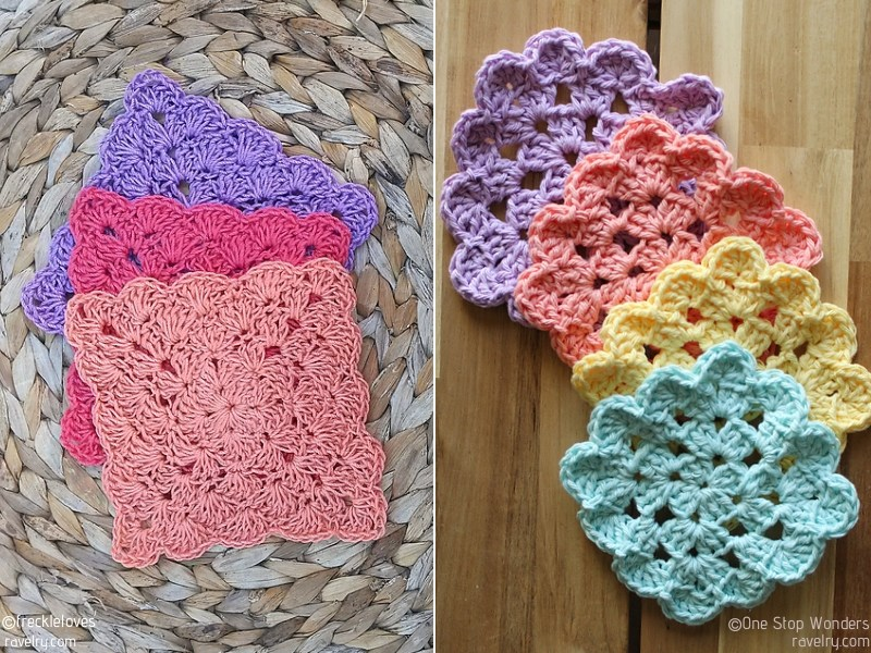 Square Crochet Coasters Free Patterns