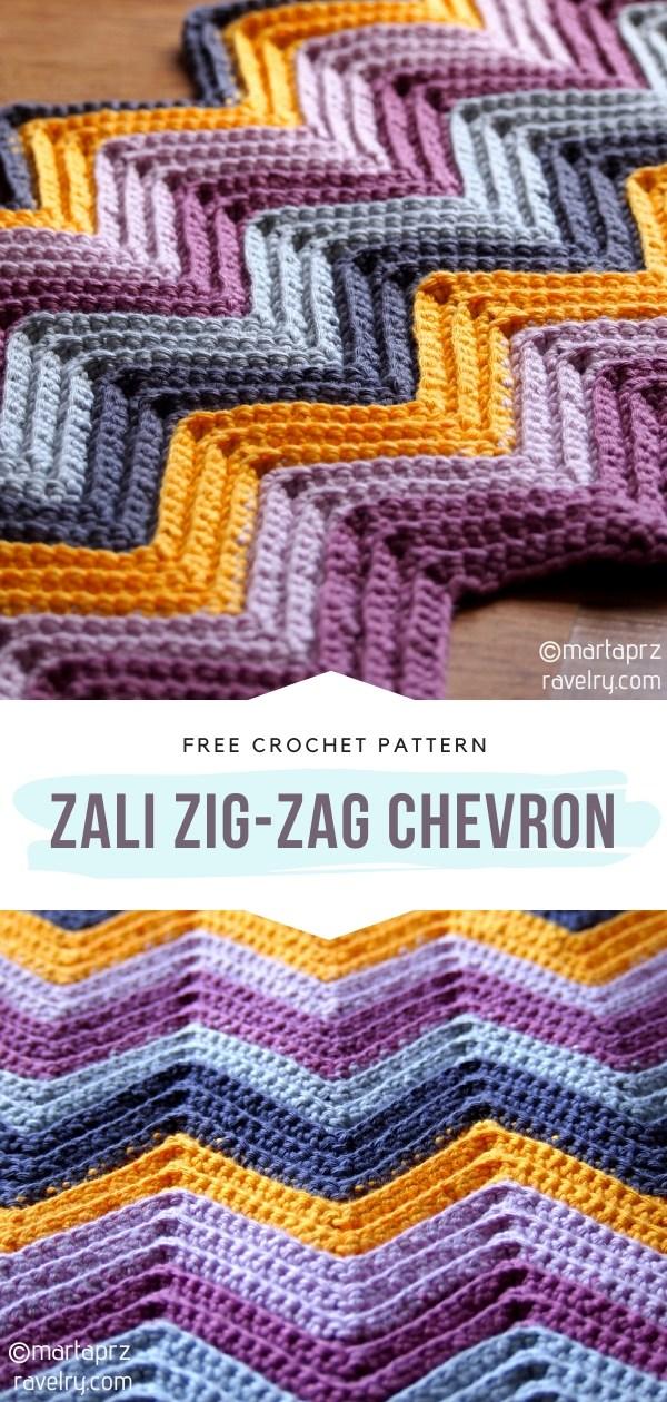 Zali Zig-Zag Chevron Crochet Blanket
