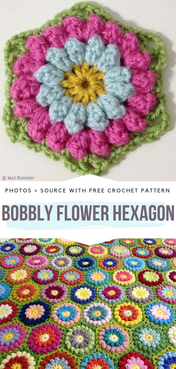 Bobbly Flower HexagonFree Crochet Pattern