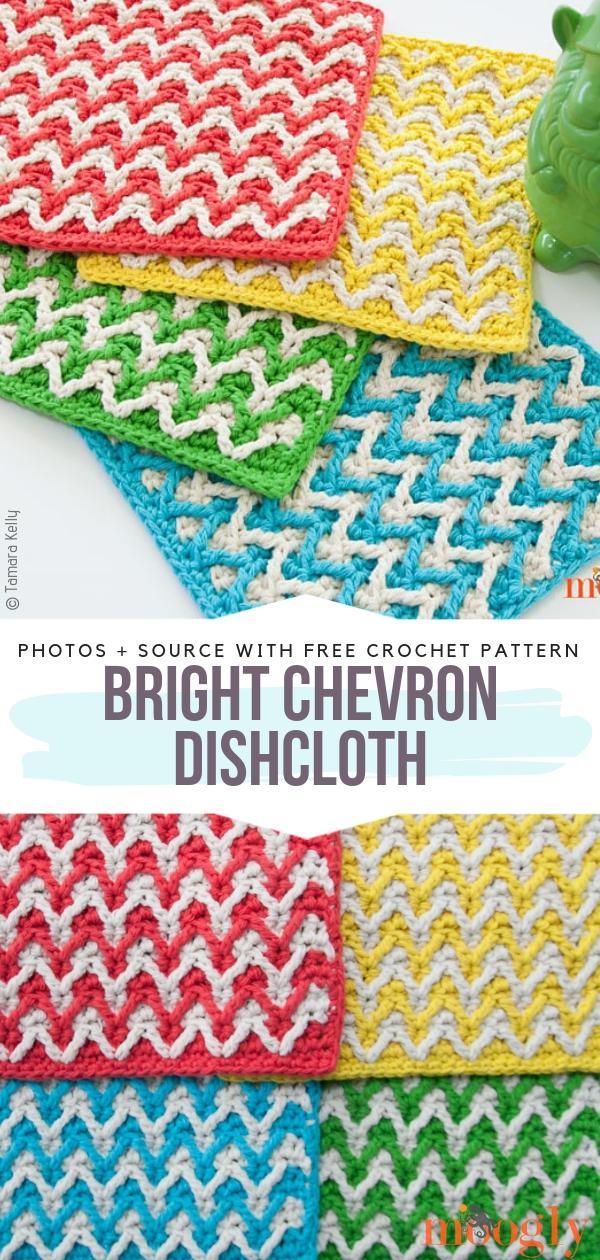 Bright Chevron DishclothFree Crochet Pattern