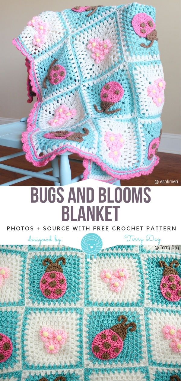 Bugs and Blooms BlanketFree Crochet Pattern