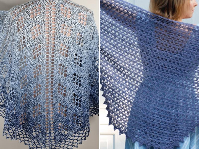 Hues Of Blue Crochet Shawls Free Patterns