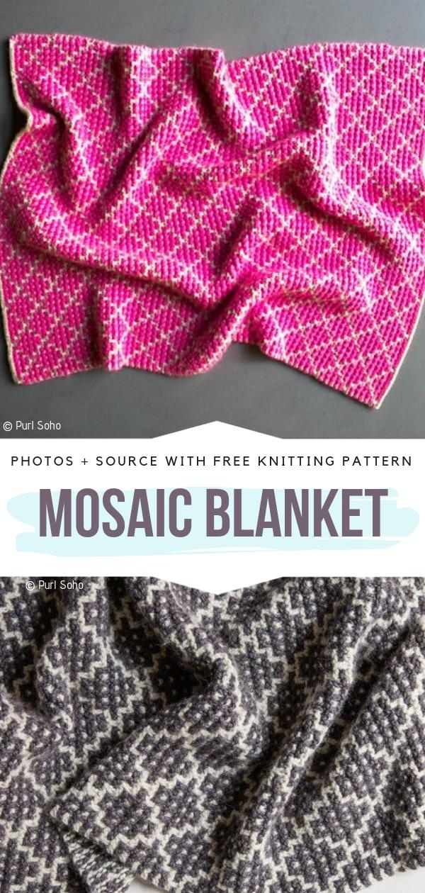 Mosaic BlanketFree Knitting Pattern