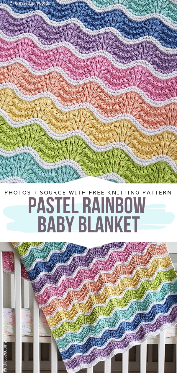 Pastel Rainbow Baby BlanketFree Knitting Pattern