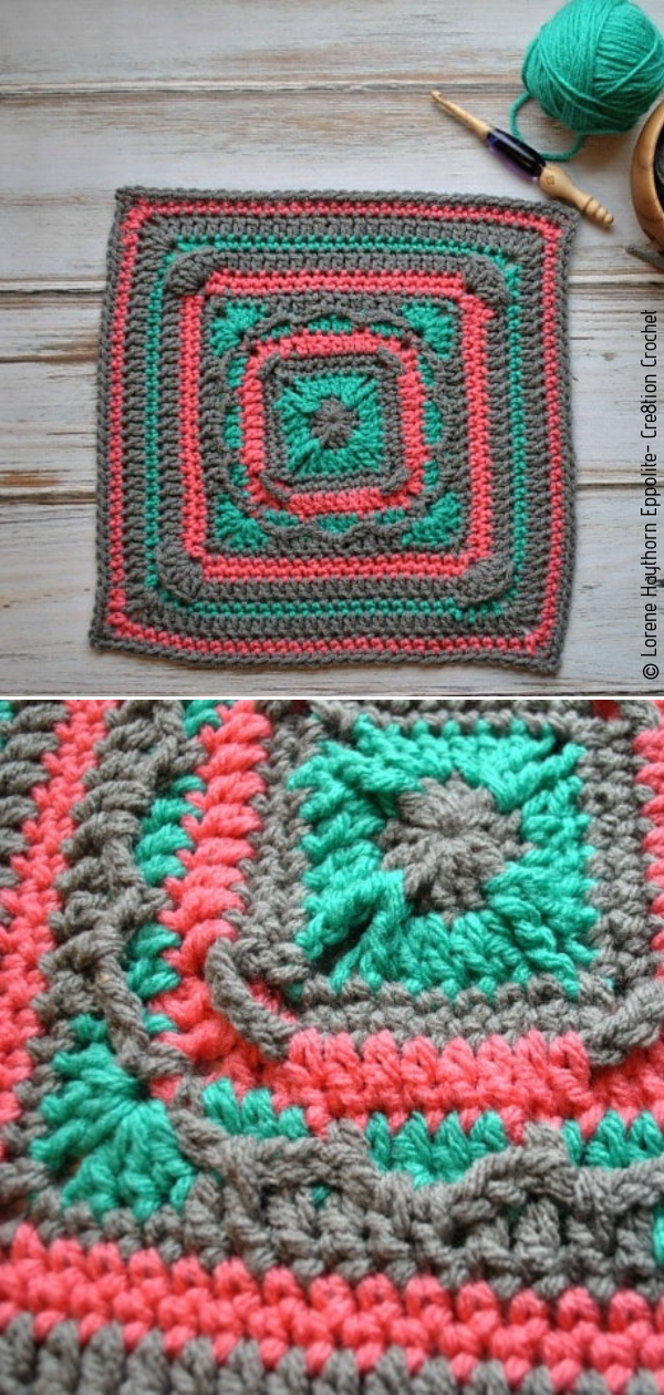 """Persephone Square 12"""" Afghan SquareFree Crochet Pattern"""