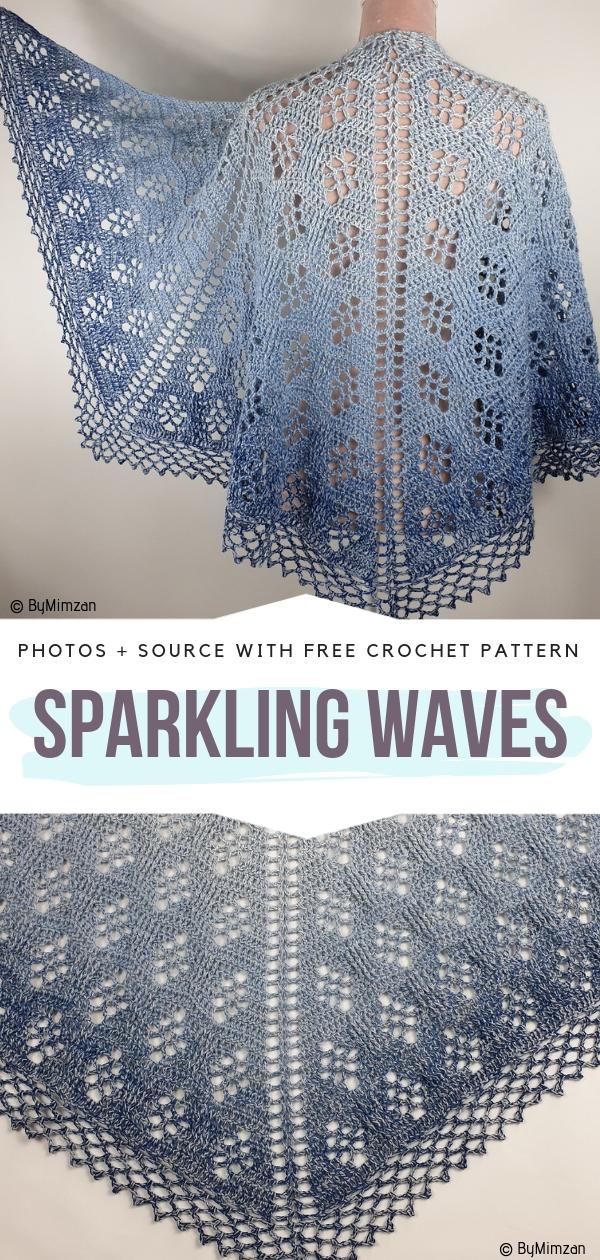 Beautiful Shawl Sparkling WavesFree Crochet Pattern