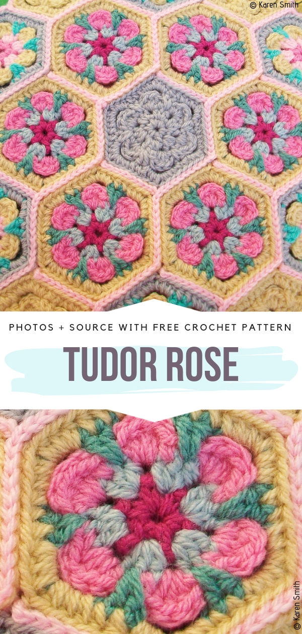 Stunning Hexagon Tudor RoseFree Crochet Pattern