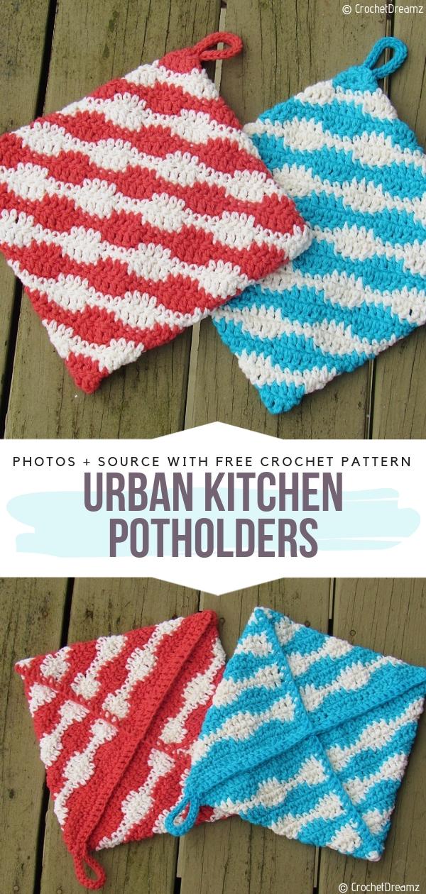 Urban Kitchen PotholdersFree Crochet Pattern